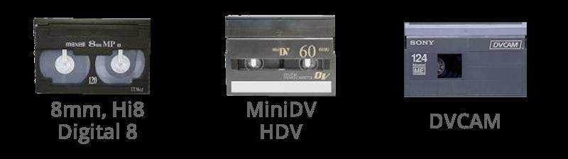 VHS VHS-C Betamax, 8mm, Hi8, Digital8, MiniDV, HDV, DVCAM
